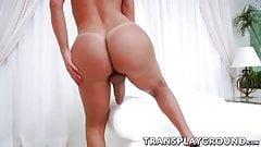 Busty shemale chick Sabrina Suzuki jerking off her big cock
