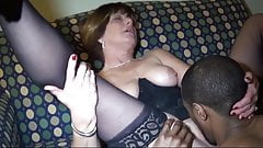 Mature Slut In Black Stocking Takes Black Cock