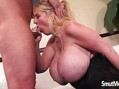 Giant boobed mature woman fucks and eats cum