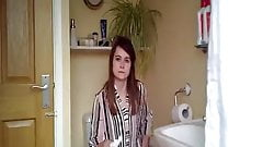 Young readhead girl caught taking a quick piss