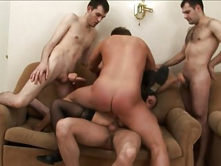 Mature slut in Gang Bang