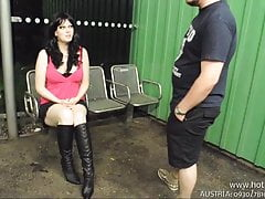 Outdoor Public AO Blowjob Creampie Busty Fick