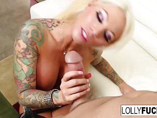 Lolly Ink gets a good fuck and a load on her giant tits