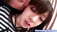Oriental teen babe screwed in pov