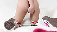 Dahlia keeps her socks on when she masturbates