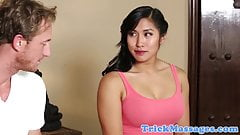 Busty asian amateur pussylicked by masseur