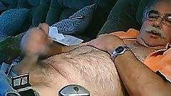 Hairy daddy wanking on cauch
