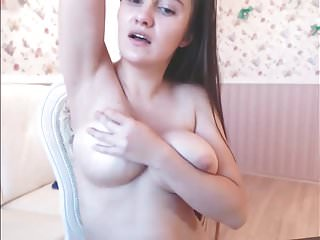Super Sexy Long Haired Hairplay, Striptease, Masturbating