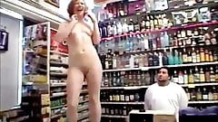 Girl gets naked for shop workers