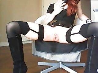sexy dressed redhead with big pussy masturbates