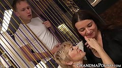 One by one these two grandmas fucked hard doggy style