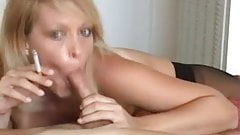 Blonde chick smoking and sucking cock