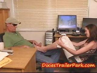 Girl gives older guy a FOOT JOB