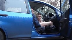 Dogging slut sucking and fucking in a car