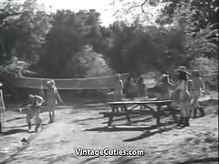 Group of Girls with Great Tits Playing Outdoors (Vintage)