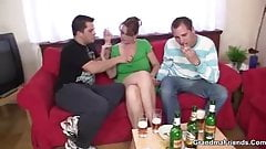 Threesome with mature boozed woman