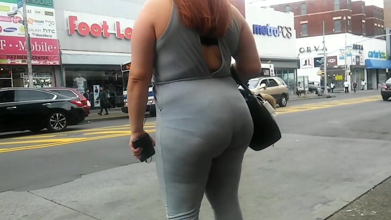 Thick latina milf booty in grey jumpsuit