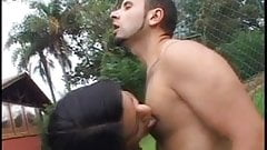 Lucky stud gets head from a stunning tranny then fucks her