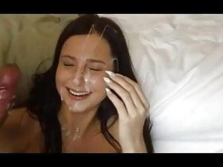 CUM spray on her Cute Face