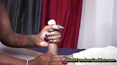 Milian Manson cock and ball play with cockrings