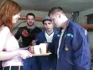 Workmen take care of a redhead teen part 3