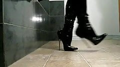 walk in fetish boots, metal heels