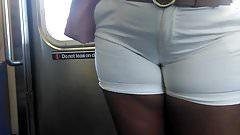 Ebony Milf Cameltoe in white shorts