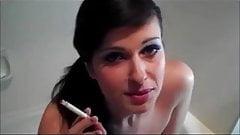 Sexy smoking Brunette