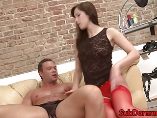 Fem dom restrains muscle sub for anal toying