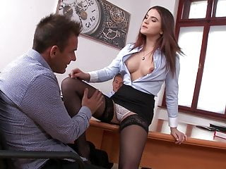 Secretary in stockings DP threesome