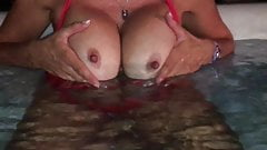 Fake Boobs in Pool