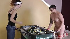 2 Cuties Play a Game of Strip Foosball