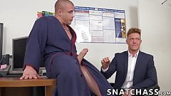 Muscular boss pounding beautiful office worker