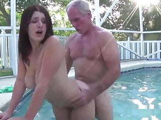 early job of April Dawn with old man in pool