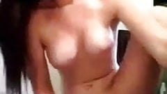 Teen fucks her hairbrush while standing in bathroom