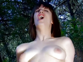 Busty girl gets sex in forest
