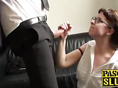 Gagging brunette slut in sexy stockings get a big facial
