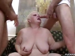Chunky Mature In A 3some Gets Jizzed