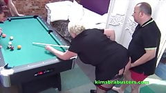Kim screwed on the pool table