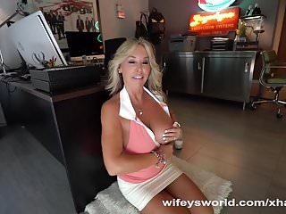 Wifey Sucks Two Cocks To Get Cum Tits
