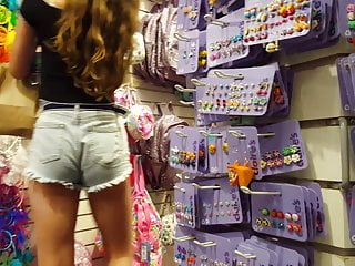 Candid voyeur teen tight body earring shopping mall