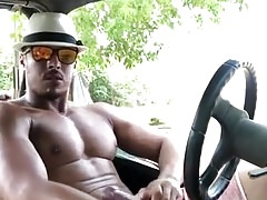 Straight Latin hunk  jerks off his large dick outdoors
