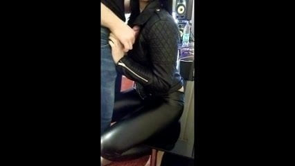 cumshot on sexy girl in leather outfit