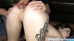 Tattoo'd babe Indigo Augustine gets ass worshiped and eaten