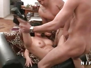 French milf anal fucked and her big tits cum covered in 3way