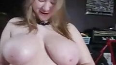Chubby blonde with big titties sucks a cock