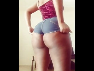 Very TIght azz booty shorts she trying to fit in them