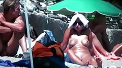 Nice Nudist On The Sand With Shaved Pussy