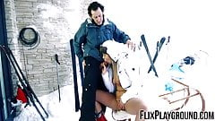 Slamming down Nikki Dreams pussy and doing it in the snow