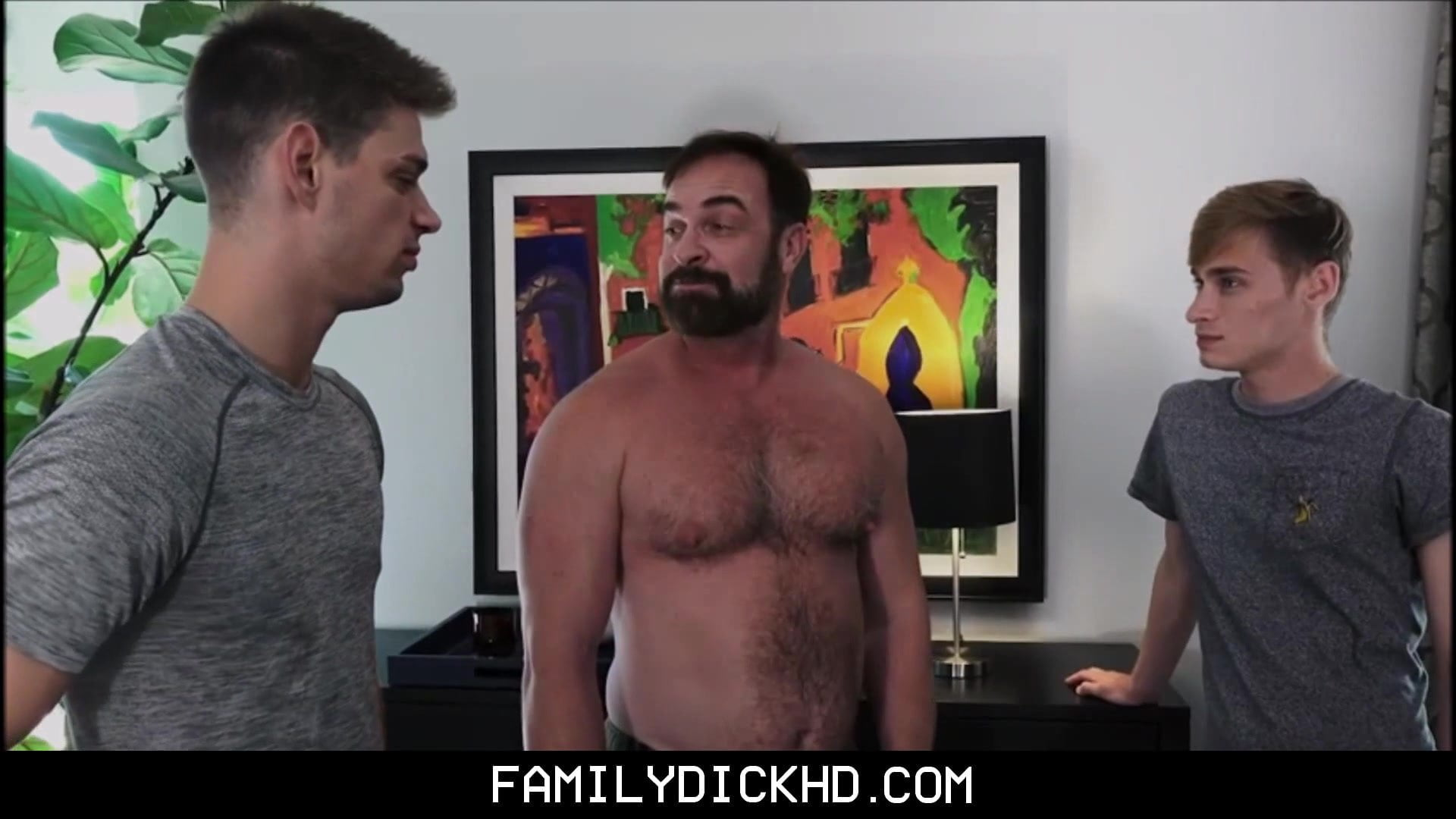 Bear Stepdad Threesome With Scorching Jock And Twink Stepsons